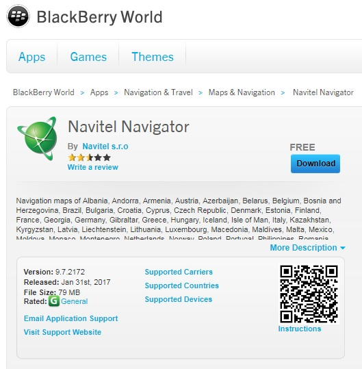 Скачать Навител Навигатор для Blackberry